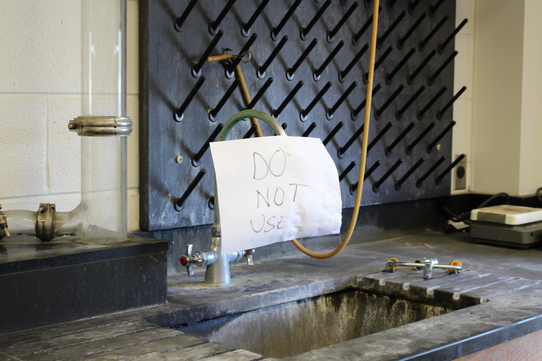 Broken sink in Science North Building laboratory.