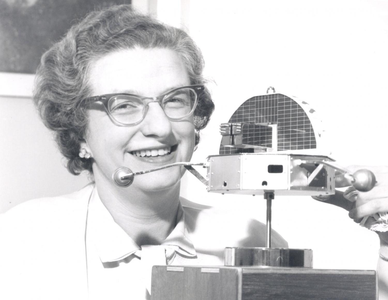 Nancy Grace Roman with a model of the Orbiting Solar Observatory in 1962. Credit: NASA/Kepler Team