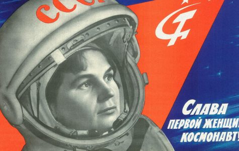 A Soviet propaganda poster featuring Valentina Tereshkova, the first woman in space.