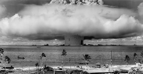 A photograph from the detonation of a nuclear bomb in the Pacific Ocean in 1946.